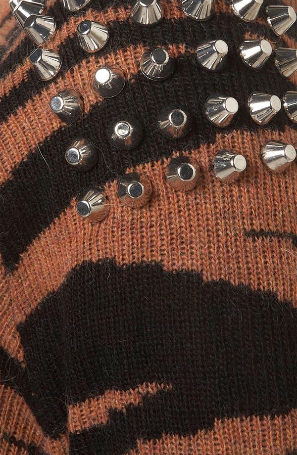 Alternate Image 3  - Topshop Tiger Stripe Studded Knit Cardigan