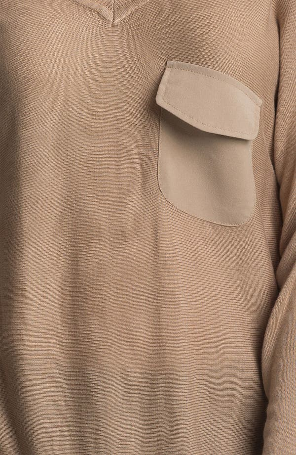 Alternate Image 3  - Max & Mia V-Neck Chiffon Back Sweater