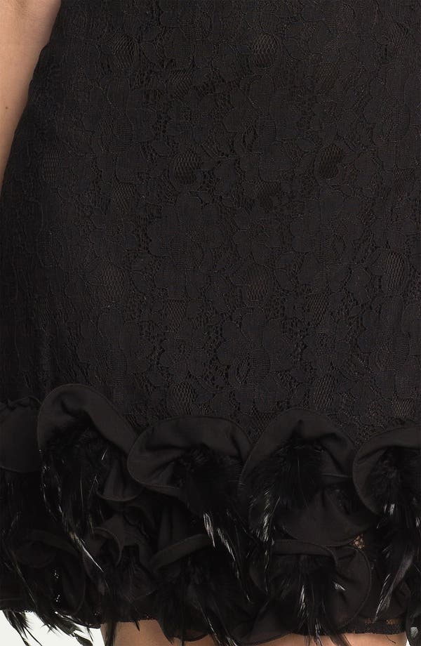 Alternate Image 3  - Jessica Simpson Feather Trim Illusion Yoke Lace Dress