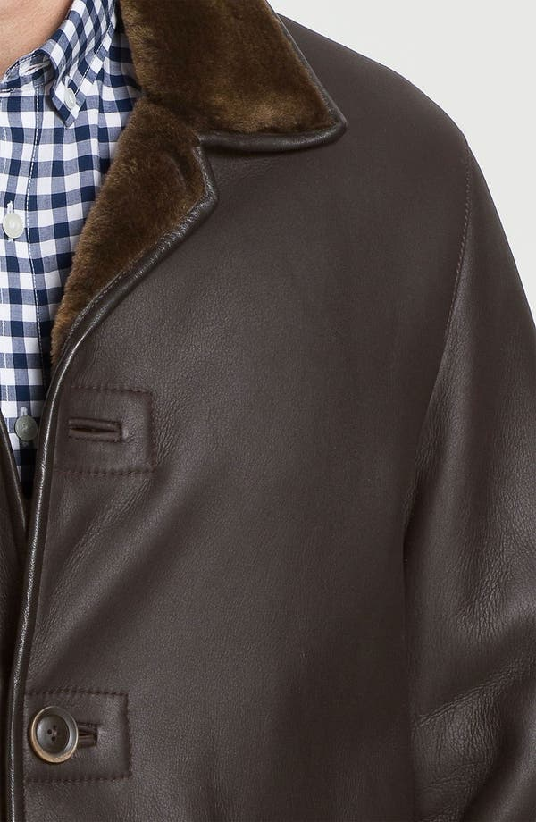 Alternate Image 3  - Robert Talbott Leather Coat with Genuine Shearling Lining
