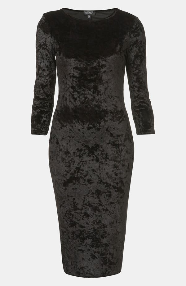 Main Image - Topshop Crushed Velvet Midi Dress
