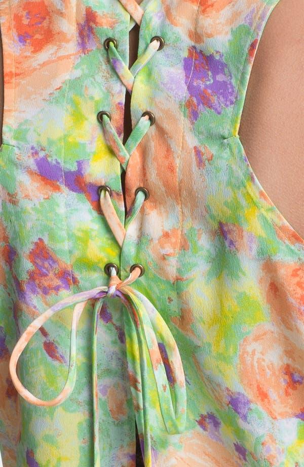 Alternate Image 3  - Lush Lace-Up Back Floral Tank (Juniors)