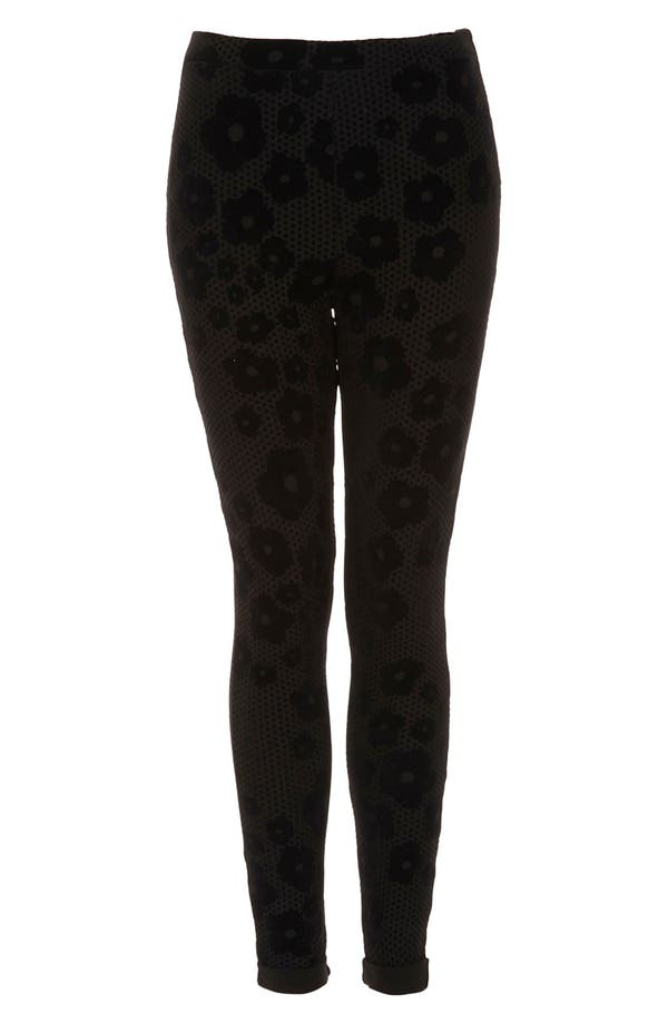 Alternate Image 1 Selected - Topshop Flocked Daisy Leggings