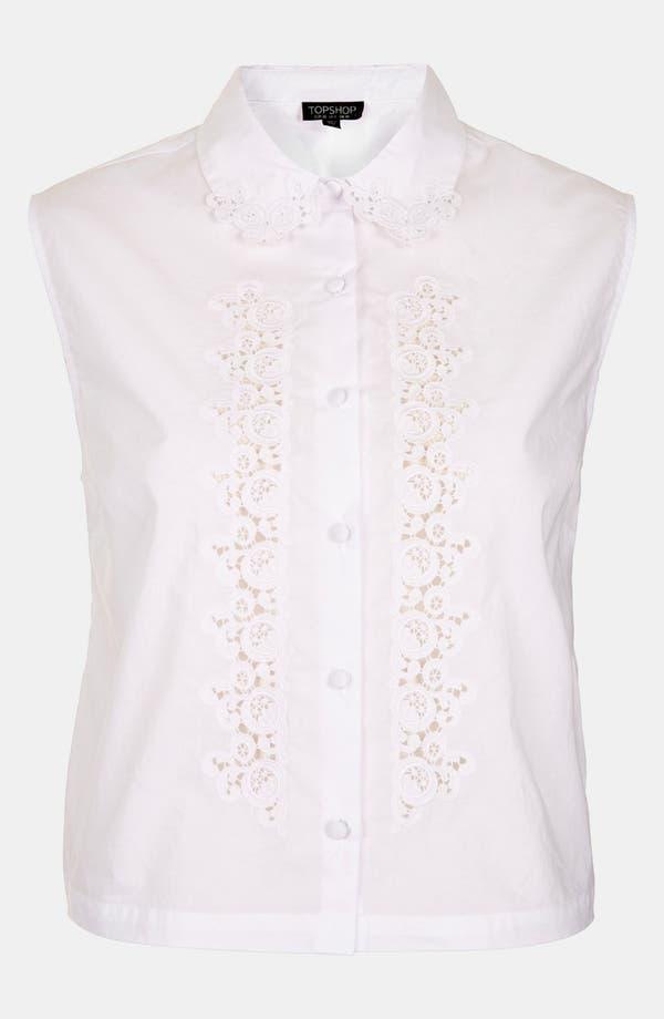 Alternate Image 3  - Topshop Embroidered Cutout Sleeveless Shirt