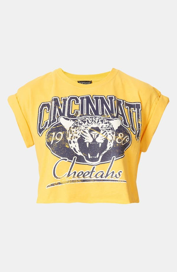 Main Image - Topshop 'College Cheetah' Crop Tee