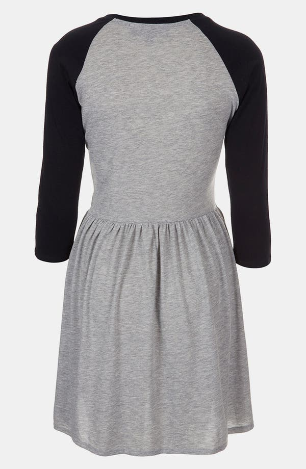 Alternate Image 2  - Topshop Raglan Sleeve Skater Dress (Petite)
