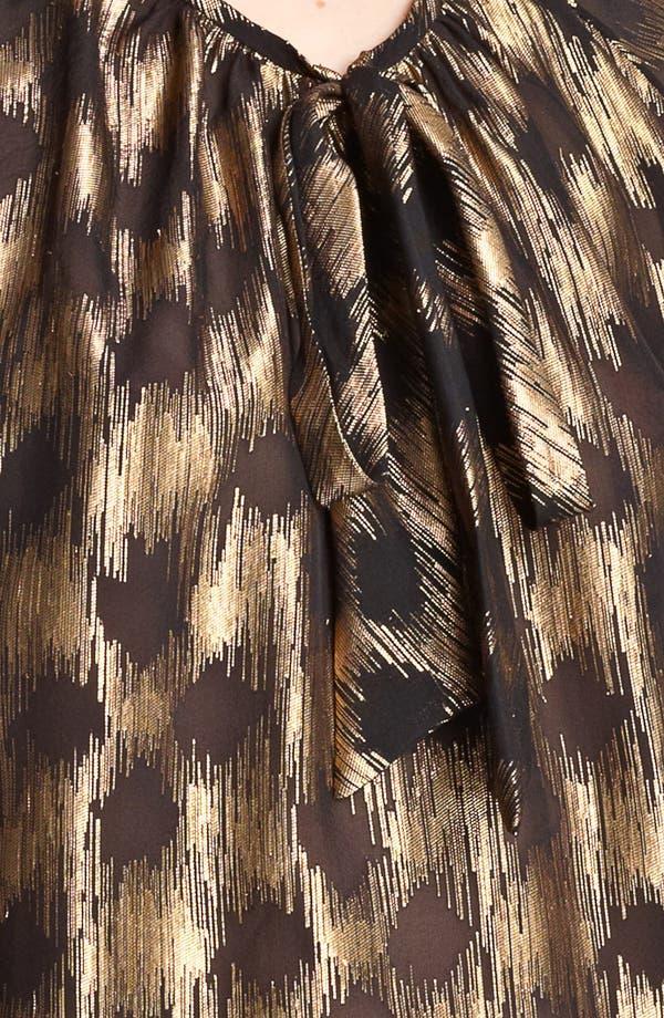 Alternate Image 3  - Jason Wu Tie Neck Metallic & Silk Chiffon Shell