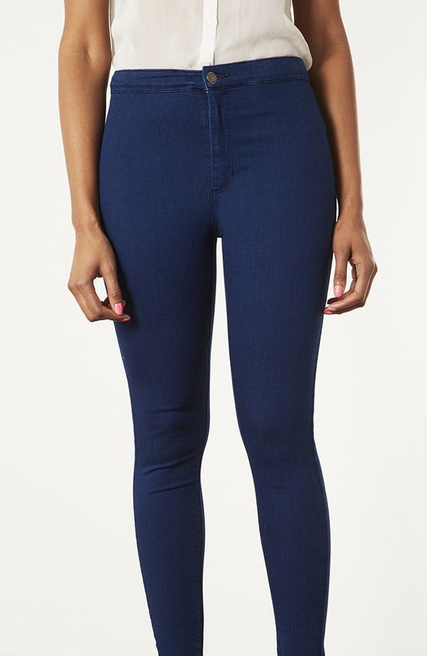 Alternate Image 3  - Topshop Moto 'Joni' High Rise Skinny Jeans (Blue)