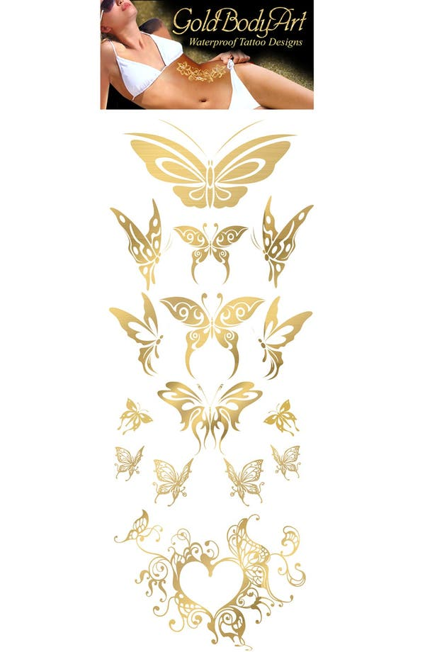 Alternate Image 1 Selected - Gold Body Art 'Butterflies' Temporary Tattoos