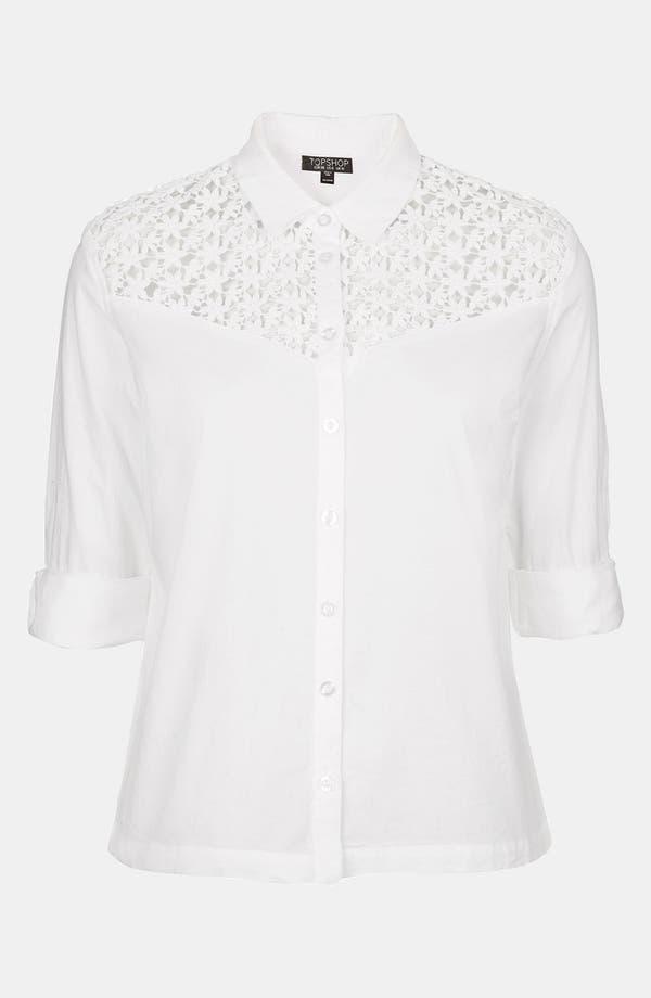 Alternate Image 3  - Topshop Crochet Yoke Shirt