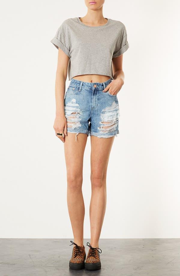 Alternate Image 4  - Topshop Destroyed Denim Shorts
