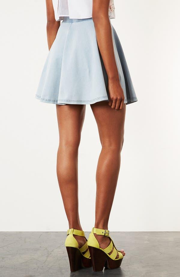 Alternate Image 2  - Topshop 'Andie' Denim Look Skater Skirt