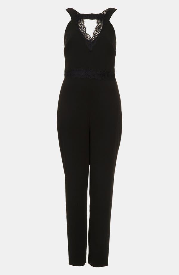 Alternate Image 3  - Topshop Lace Trim Jumpsuit