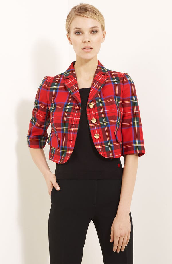 Alternate Image 1 Selected - Moschino Cheap & Chic Short Tartan Plaid Jacket