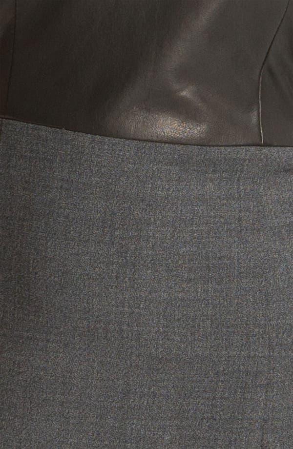 Alternate Image 3  - Theory 'Tirionne C. - Majestrate' Leather & Wool Sheath Dress