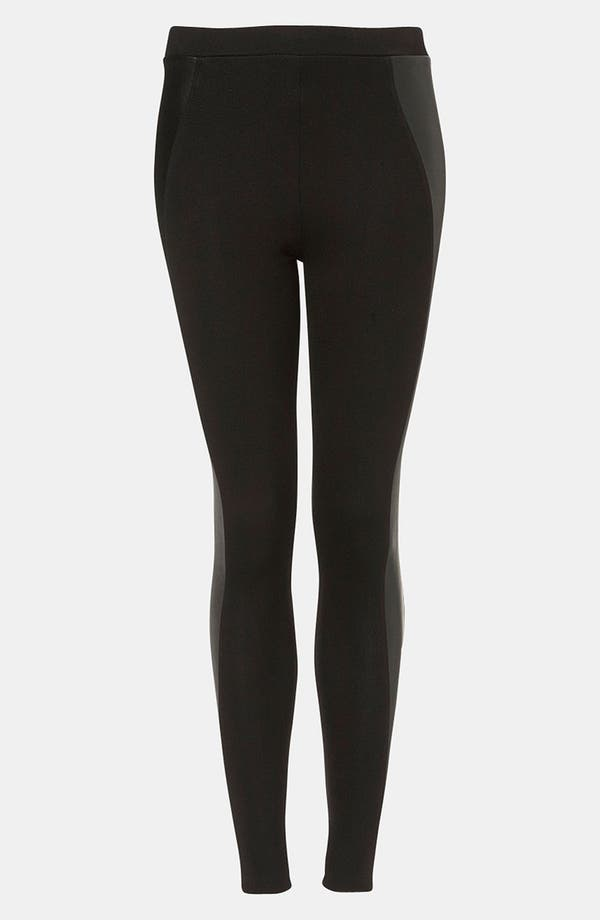 Alternate Image 1 Selected - Topshop Faux Leather Panel Leggings