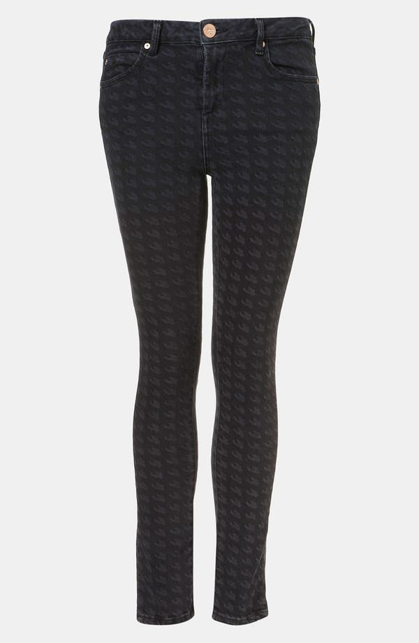 Main Image - Topshop Moto Houndstooth Cigarette Jeans