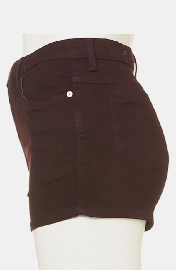 Alternate Image 4  - Topshop Moto 'Suri' Denim Hot Pants (Burgundy)
