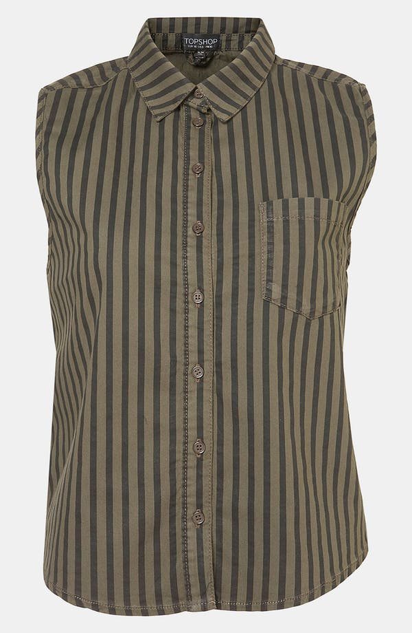 Alternate Image 1 Selected - Topshop Stripe Sleeveless Crop Shirt