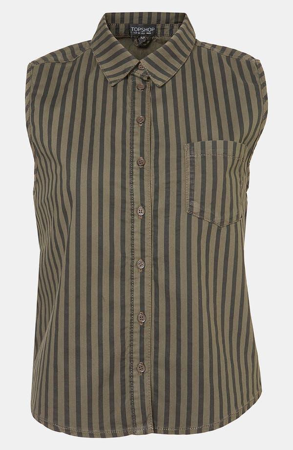 Main Image - Topshop Stripe Sleeveless Crop Shirt