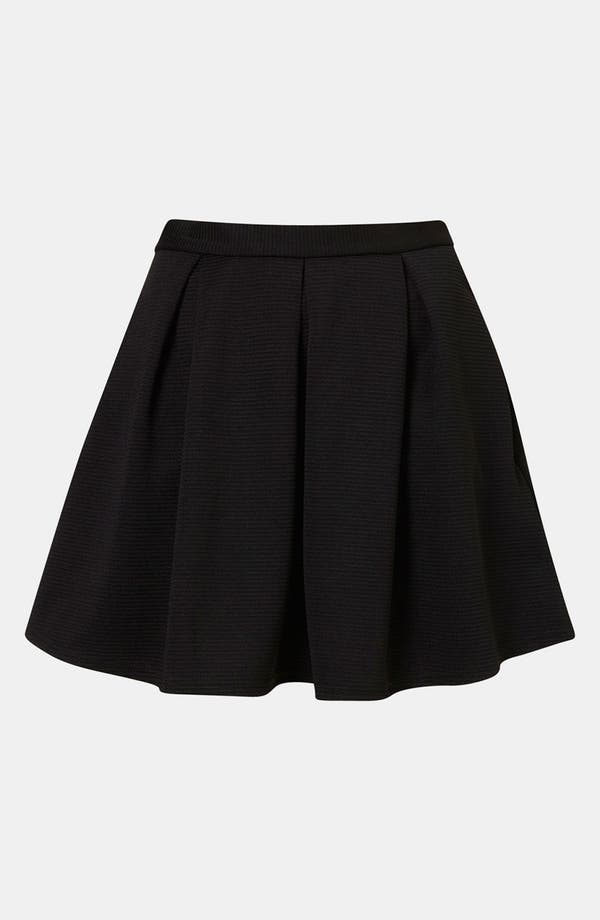 Main Image - Topshop Pleated Ribbed Skater Skirt