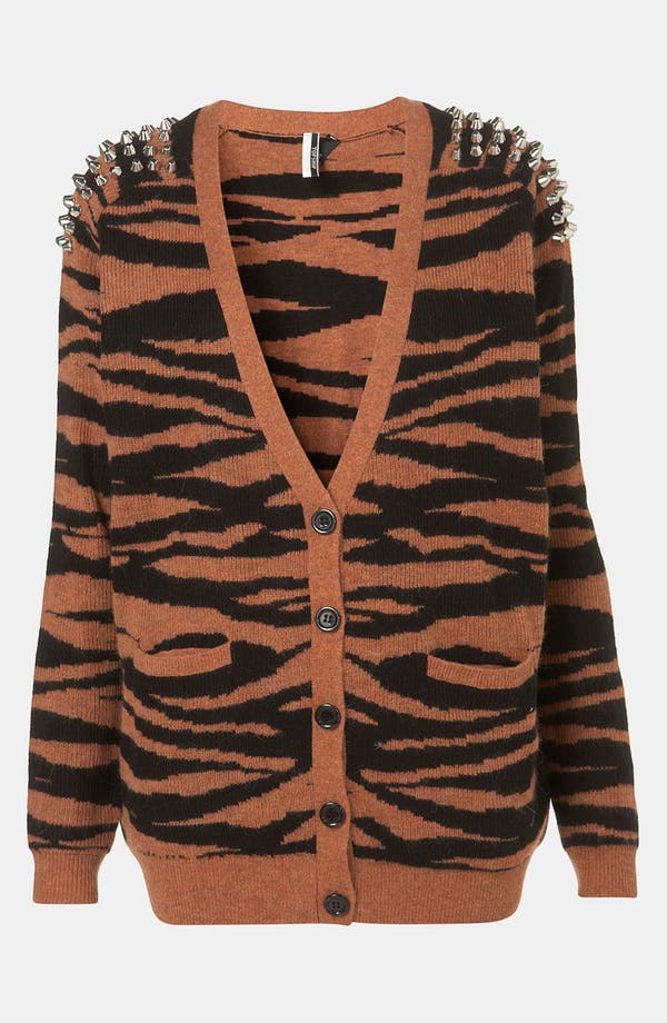 Main Image - Topshop Tiger Stripe Studded Knit Cardigan