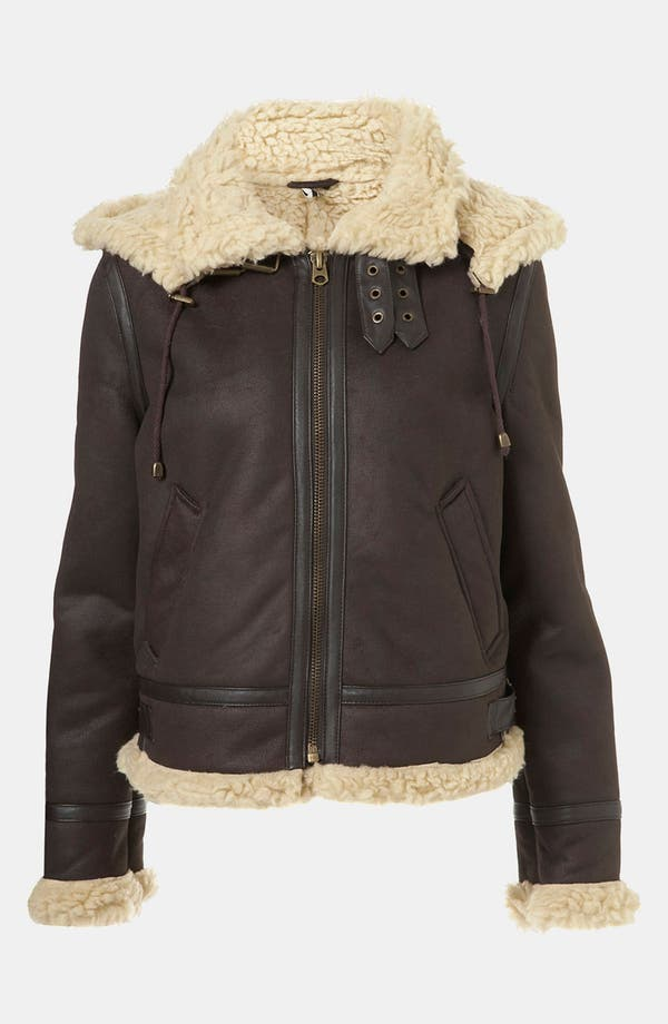 Main Image - Topshop 'Carlos' Faux Shearling Hooded Flying Jacket