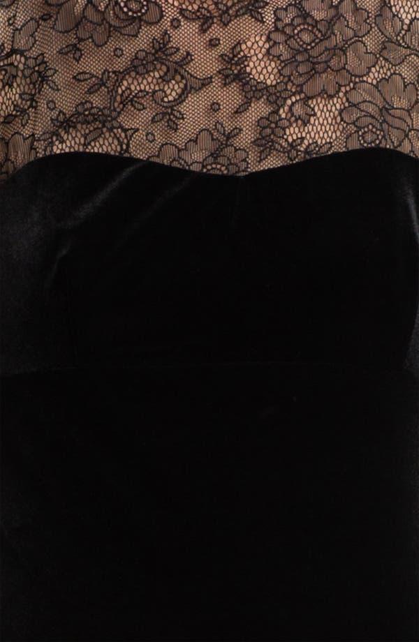 Alternate Image 3  - Jessica McClintock Lace Yoke Velvet Trumpet Gown