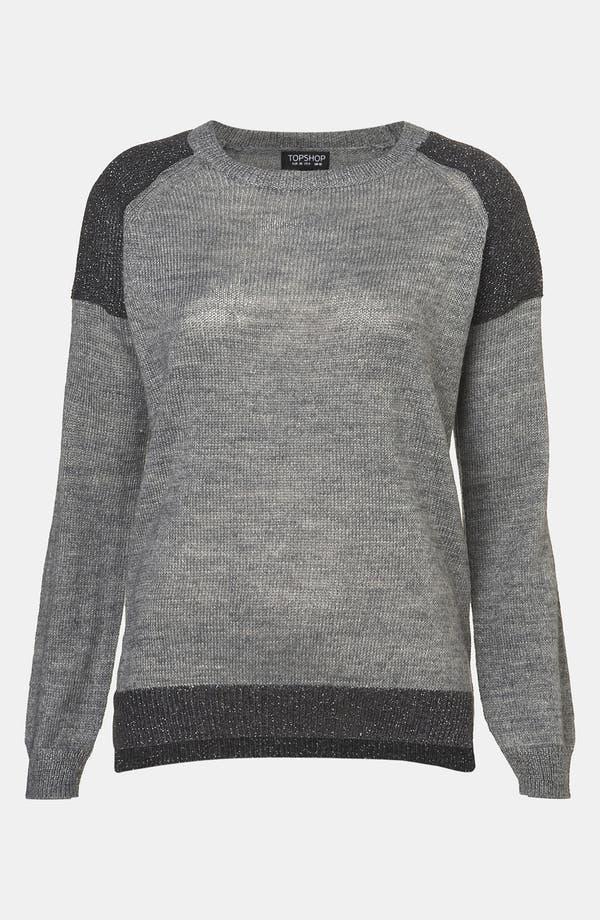Main Image - Topshop Metallic Colorblock Sweater