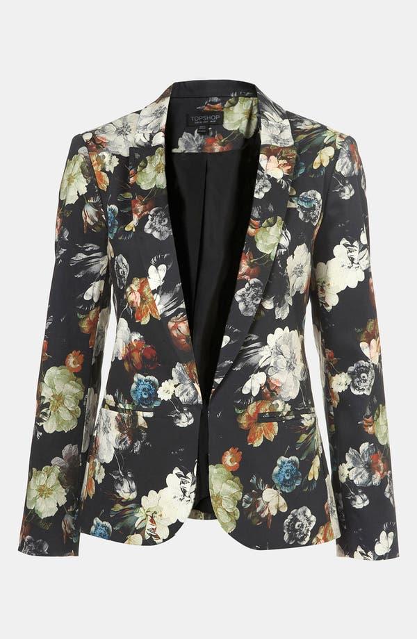 Main Image - Topshop Floral Print Open Front Blazer