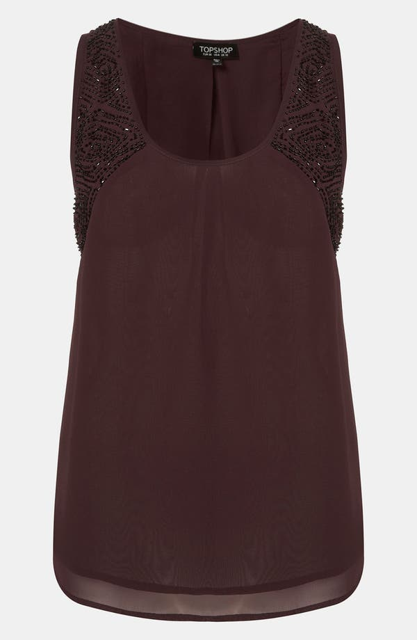 Alternate Image 1 Selected - Topshop Embellished Shoulder Tank