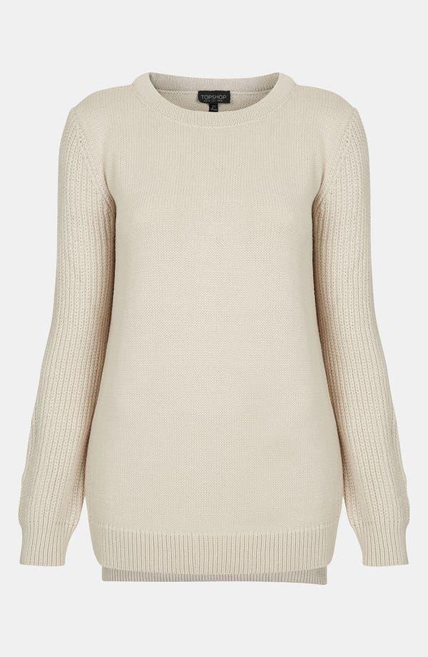 Main Image - Topshop Ribbed Sleeve Sweater