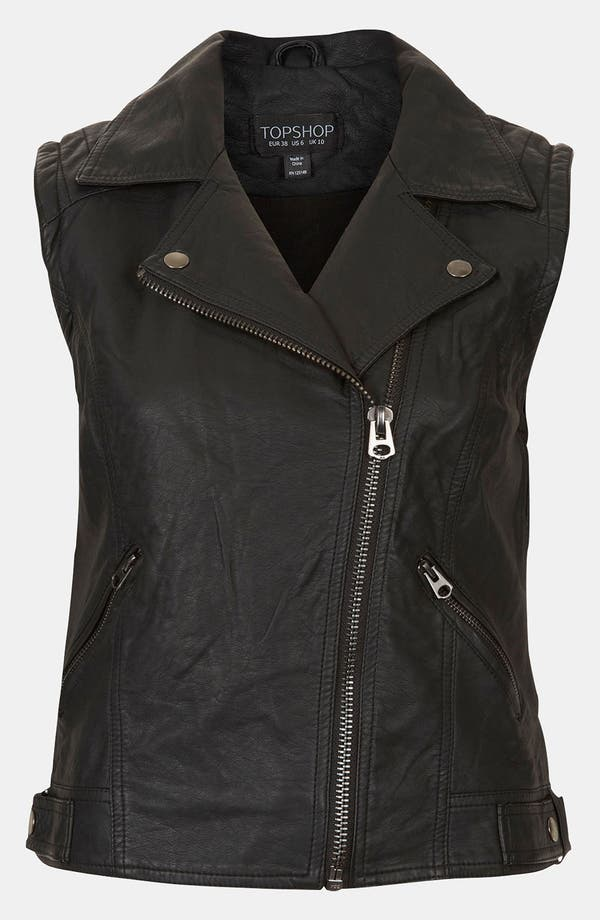 Main Image - Topshop 'Maddy' Sleeveless Biker Jacket