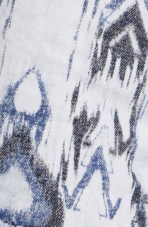 Alternate Image 3  - Fire Split Print High Waist Denim Shorts (Juniors)