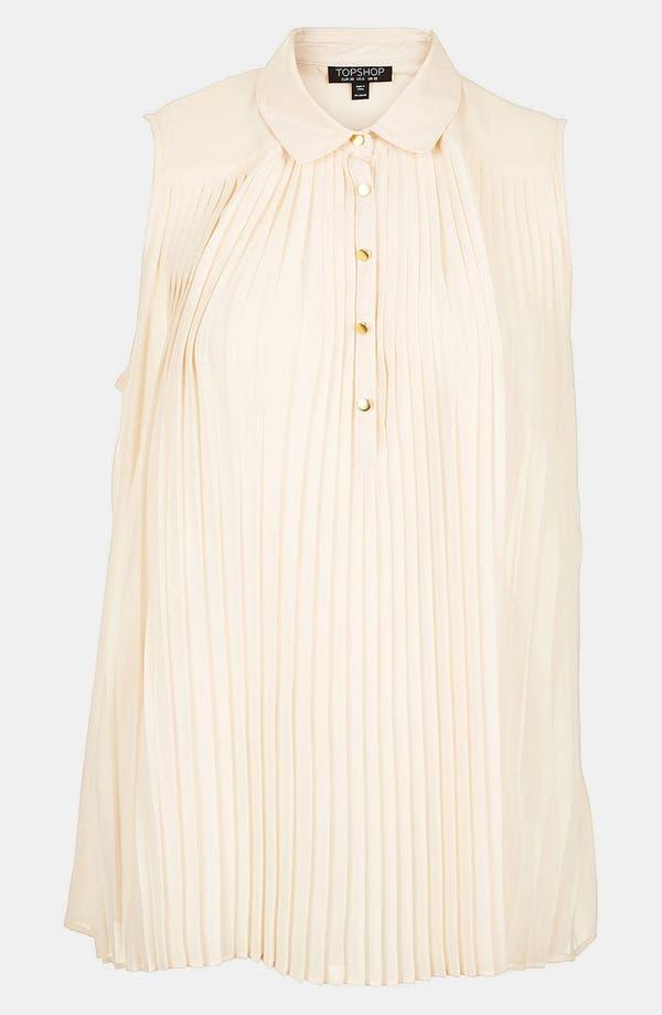 Alternate Image 2  - Topshop Pleated Sleeveless Shirt