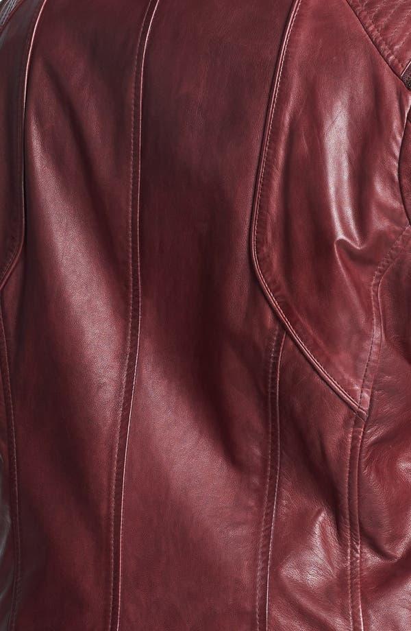 Alternate Image 3  - Bernardo Zip Trim Leather Scuba Jacket (Plus Size)