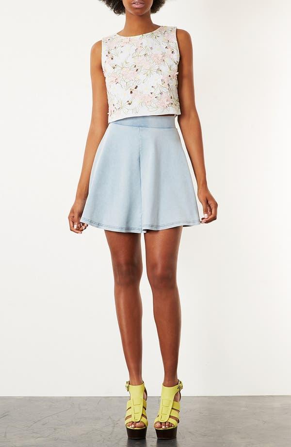 Alternate Image 4  - Topshop 'Andie' Denim Look Skater Skirt