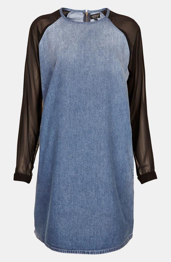 Alternate Image 3  - Topshop Moto Chiffon Sleeve Denim Dress