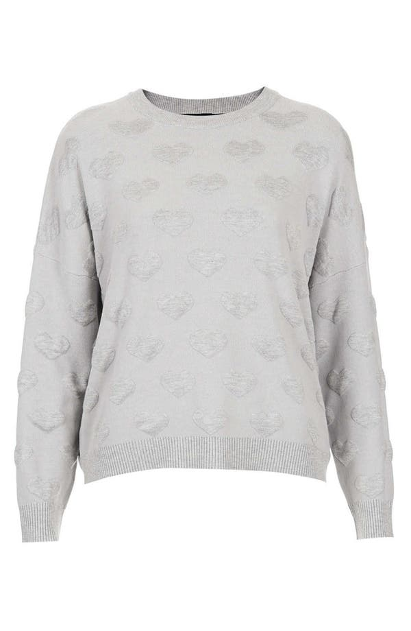 Main Image - Topshop Quilted Heart Sweatshirt (Petite)