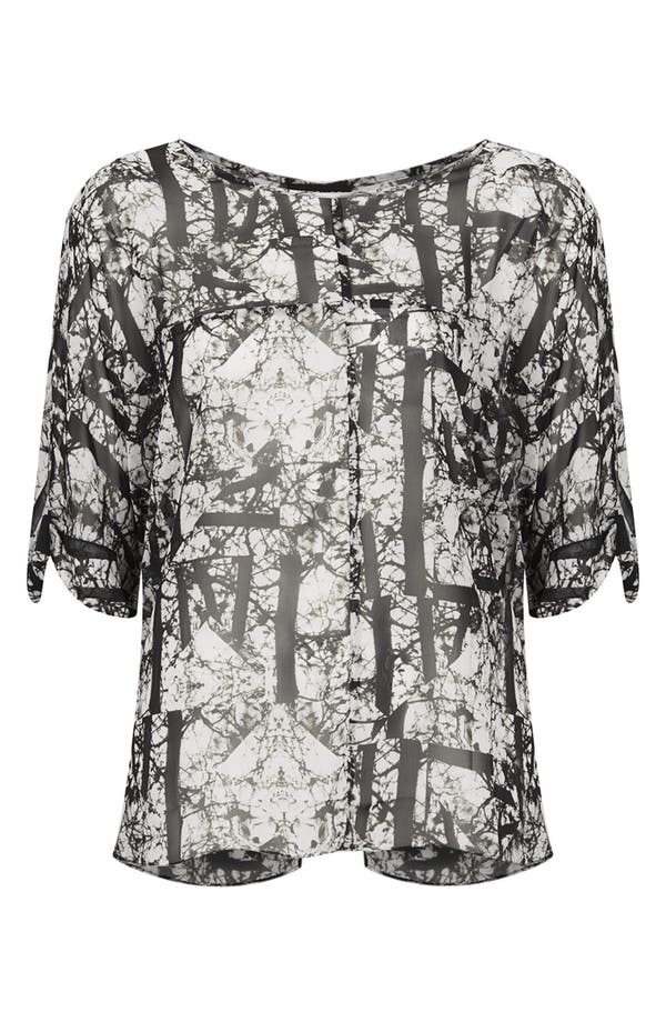 Alternate Image 3  - Topshop 'Cracked Woodland' Print Chiffon Tee