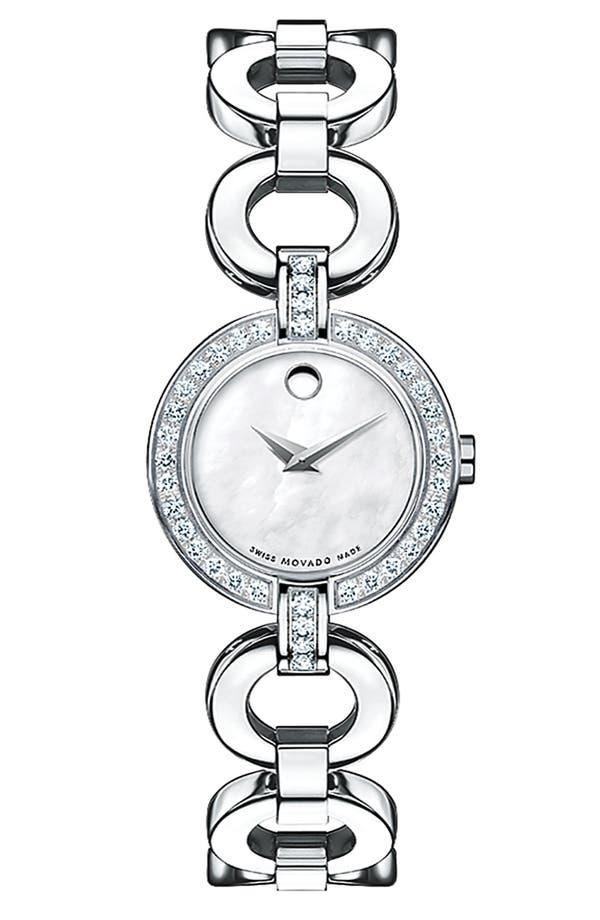 Alternate Image 1 Selected - Movado 'Bela Moda' Stainless Steel Diamond Bracelet Watch
