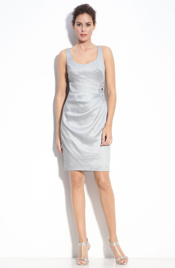 Alternate Image 2  - Adrianna Papell Metallic Crepe Sheath Dress & Bolero