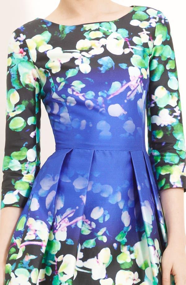 Alternate Image 3  - Oscar de la Renta Leaf Print Silk & Cotton Dress