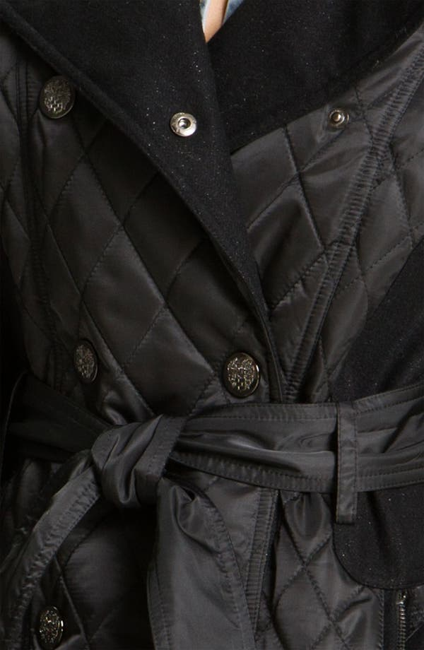 Alternate Image 3  - Vince Camuto Mixed Media Quilted Trench Coat