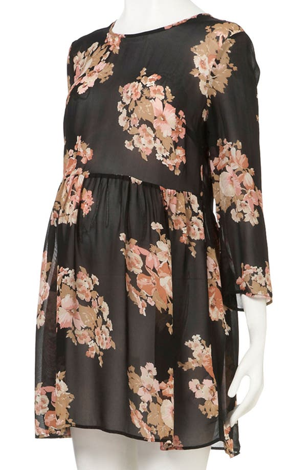 Alternate Image 4  - Topshop Floral Print Cutout Back Maternity Tunic