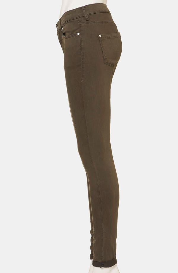 Alternate Image 4  - Topshop Moto 'Leigh' Skinny Jeans (Dark Khaki)