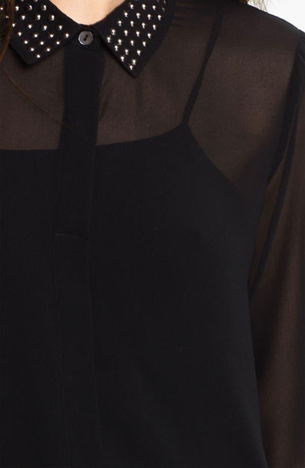 Alternate Image 3  - Velvet by Graham & Spencer Stud Collar Sheer Chiffon Shirt
