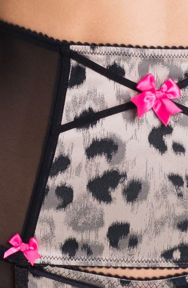 Alternate Image 3  - Betsey Johnson Leopard Print Satin & Mesh Garter Belt