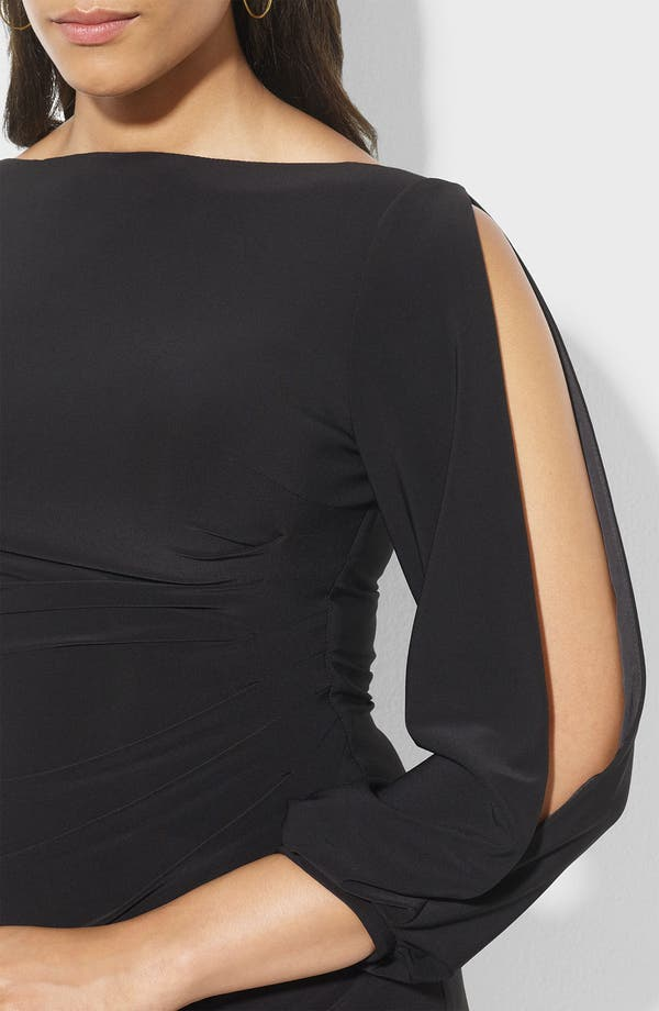 Alternate Image 3  - Lauren Ralph Lauren Open Sleeve Matte Jersey Sheath Dress (Plus)