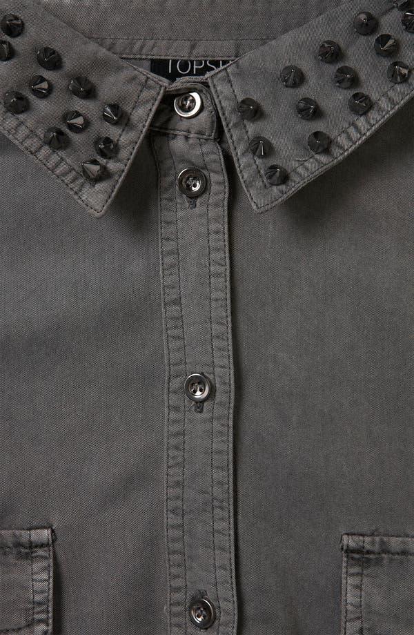 Alternate Image 3  - Topshop Studded Collar Cutout Army Shirt